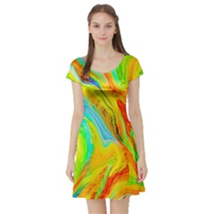 Happy Multicolor Painting Short Sleeve Skater Dress by designworld65