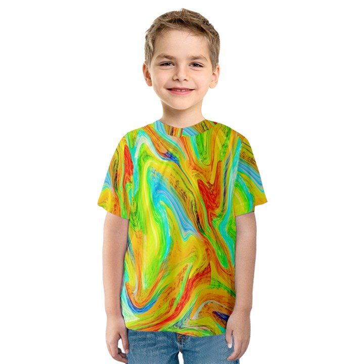 Happy Multicolor Painting Kids  Sport Mesh Tee
