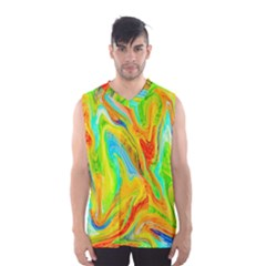 Happy Multicolor Painting Men s Basketball Tank Top by designworld65