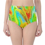 Happy Multicolor Painting High-Waist Bikini Bottoms