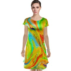Happy Multicolor Painting Cap Sleeve Nightdress by designworld65