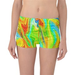 Happy Multicolor Painting Reversible Boyleg Bikini Bottoms by designworld65