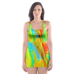 Happy Multicolor Painting Skater Dress Swimsuit by designworld65