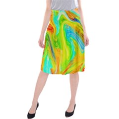 Happy Multicolor Painting Midi Beach Skirt by designworld65