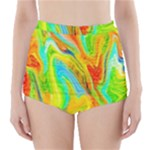 Happy Multicolor Painting High-Waisted Bikini Bottoms