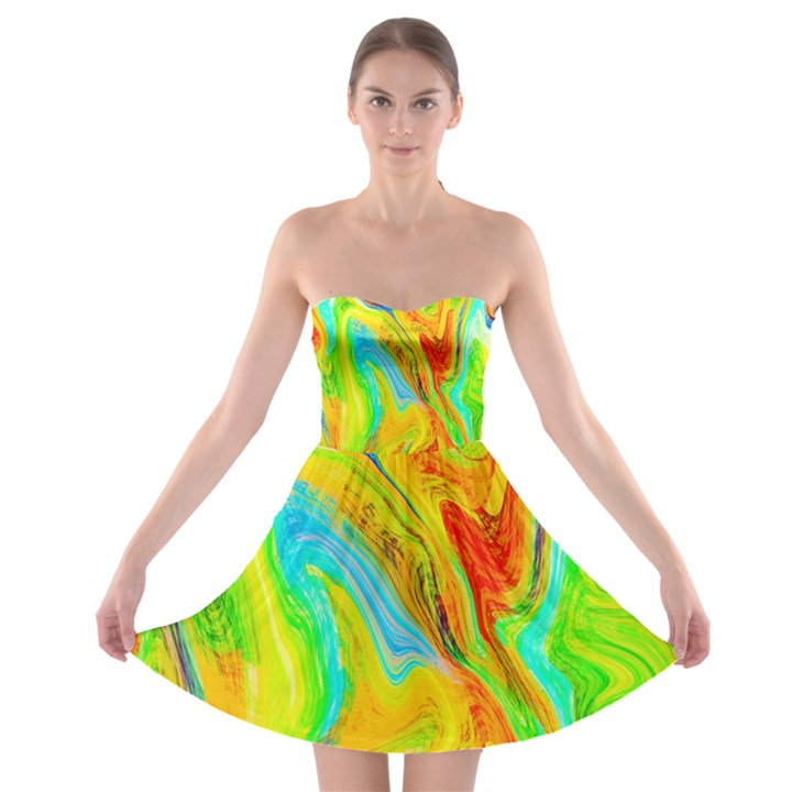 Happy Multicolor Painting Strapless Bra Top Dress