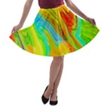 Happy Multicolor Painting A-line Skater Skirt