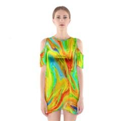 Happy Multicolor Painting Cutout Shoulder Dress