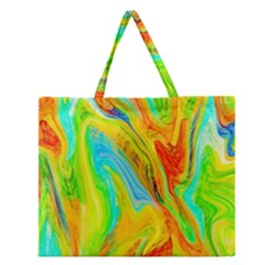 Happy Multicolor Painting Zipper Large Tote Bag by designworld65