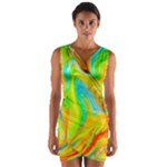 Happy Multicolor Painting Wrap Front Bodycon Dress
