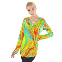 Happy Multicolor Painting Women s Tie Up Tee by designworld65