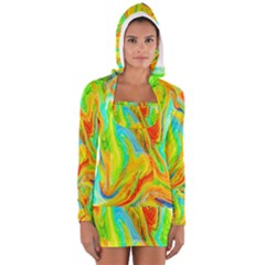 Happy Multicolor Painting Women s Long Sleeve Hooded T Shirt by designworld65