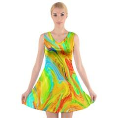 Happy Multicolor Painting V Neck Sleeveless Skater Dress