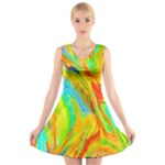 Happy Multicolor Painting V-Neck Sleeveless Skater Dress