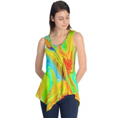 Happy Multicolor Painting Sleeveless Tunic