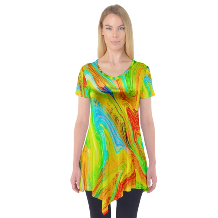 Happy Multicolor Painting Short Sleeve Tunic