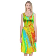 Happy Multicolor Painting Midi Sleeveless Dress by designworld65