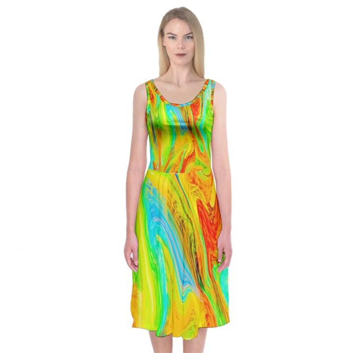 Happy Multicolor Painting Midi Sleeveless Dress