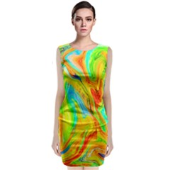 Happy Multicolor Painting Classic Sleeveless Midi Dress by designworld65