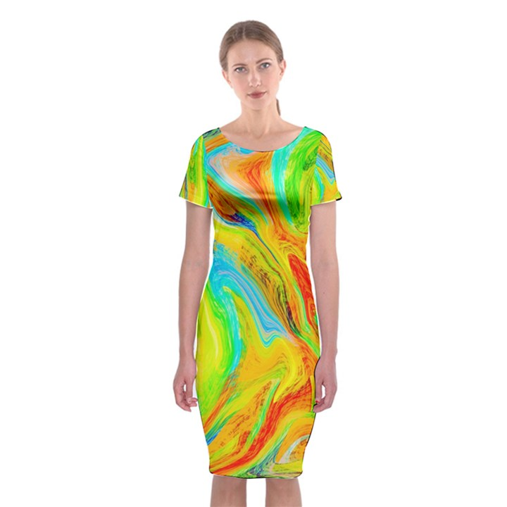 Happy Multicolor Painting Classic Short Sleeve Midi Dress