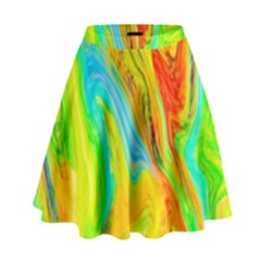 Happy Multicolor Painting High Waist Skirt by designworld65