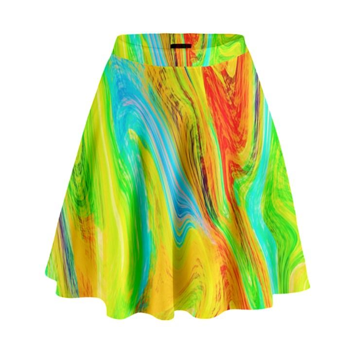 Happy Multicolor Painting High Waist Skirt