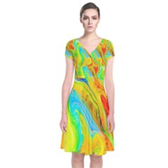 Happy Multicolor Painting Short Sleeve Front Wrap Dress by designworld65
