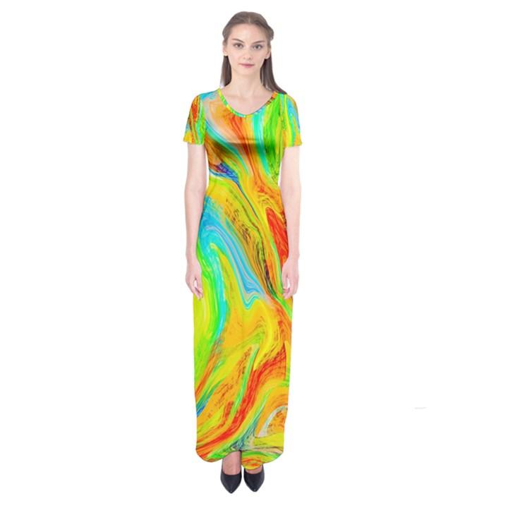 Happy Multicolor Painting Short Sleeve Maxi Dress