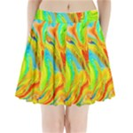 Happy Multicolor Painting Pleated Mini Skirt