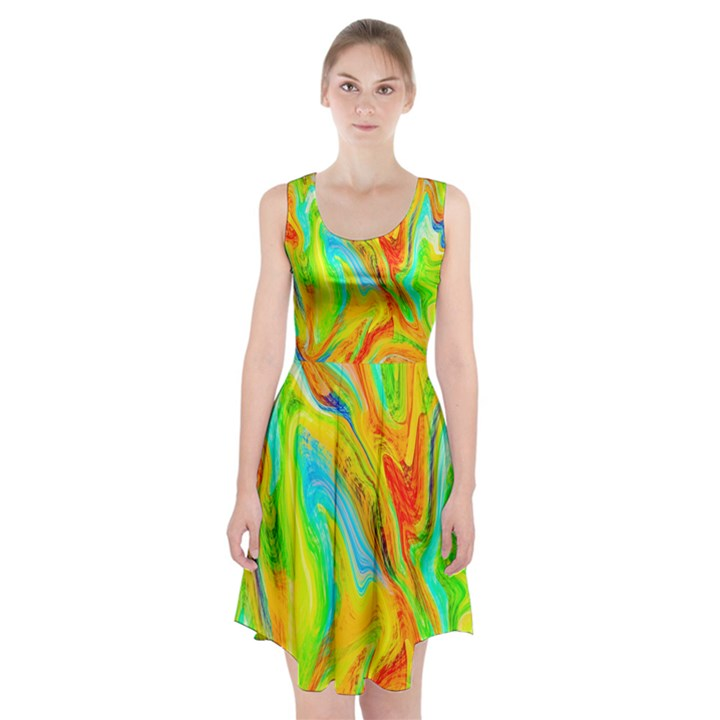 Happy Multicolor Painting Racerback Midi Dress