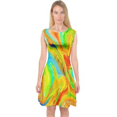 Happy Multicolor Painting Capsleeve Midi Dress by designworld65