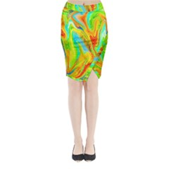 Happy Multicolor Painting Midi Wrap Pencil Skirt by designworld65