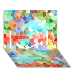 Colorful Mosaic  I Love You 3d Greeting Card (7x5) by designworld65