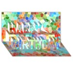 Colorful Mosaic  Happy Birthday 3D Greeting Card (8x4)