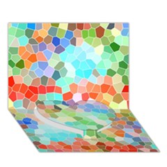 Colorful Mosaic  Heart Bottom 3d Greeting Card (7x5) by designworld65