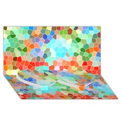 Colorful Mosaic  Twin Heart Bottom 3d Greeting Card (8x4) by designworld65