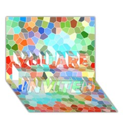 Colorful Mosaic  You Are Invited 3d Greeting Card (7x5) by designworld65