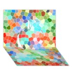 Colorful Mosaic  Apple 3D Greeting Card (7x5)
