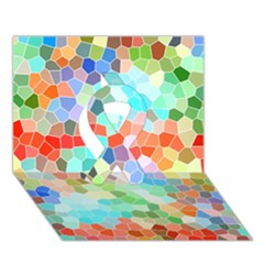 Colorful Mosaic  Ribbon 3d Greeting Card (7x5) by designworld65