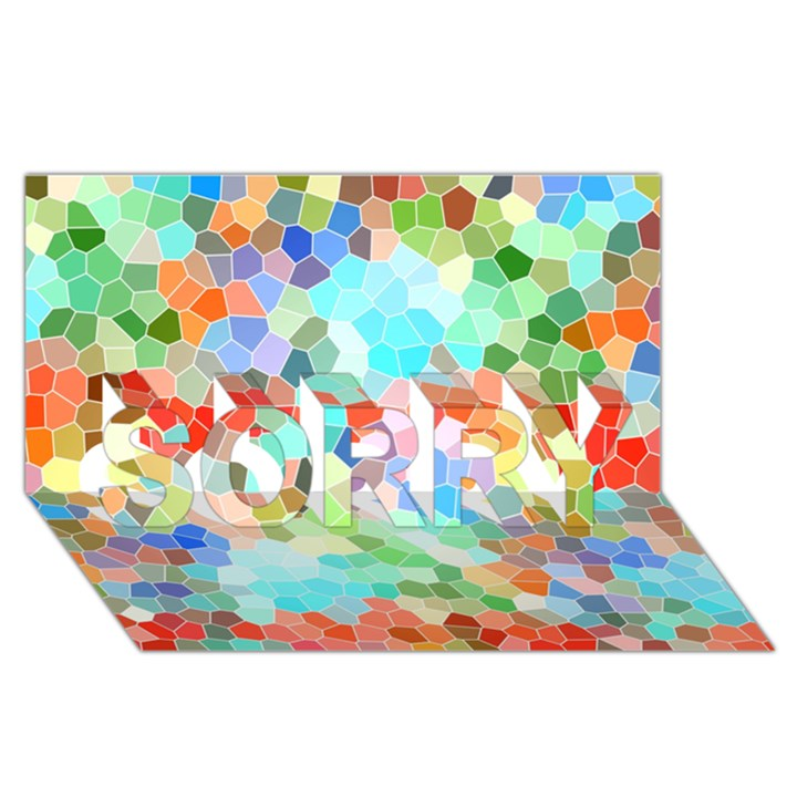 Colorful Mosaic  SORRY 3D Greeting Card (8x4)