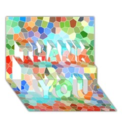 Colorful Mosaic  Thank You 3d Greeting Card (7x5) by designworld65