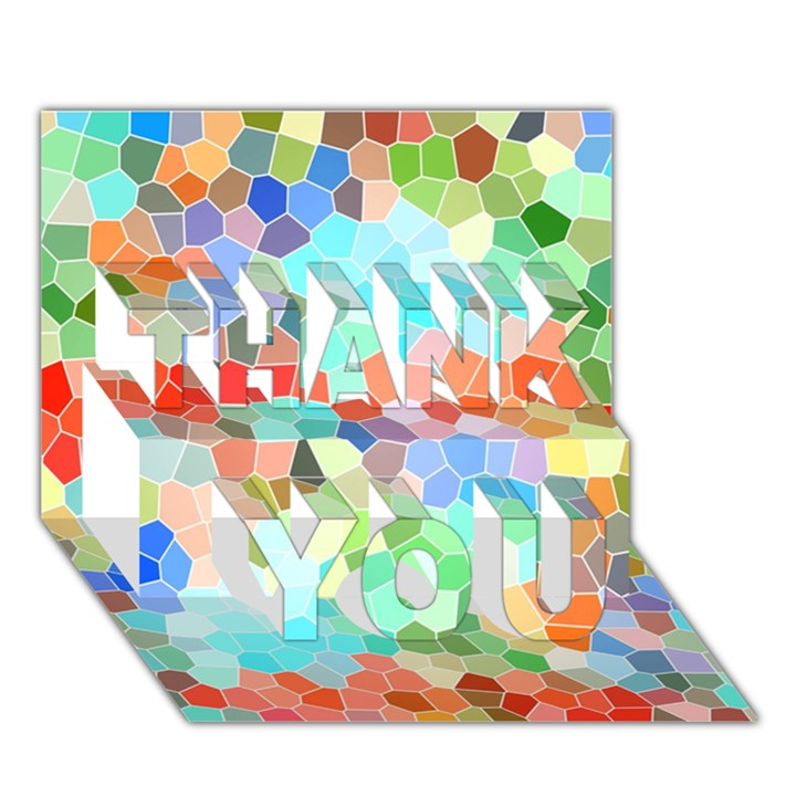 Colorful Mosaic  THANK YOU 3D Greeting Card (7x5)