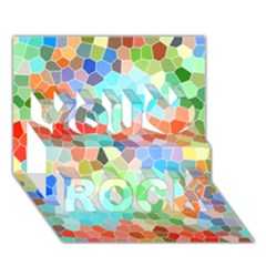 Colorful Mosaic  You Rock 3d Greeting Card (7x5) by designworld65