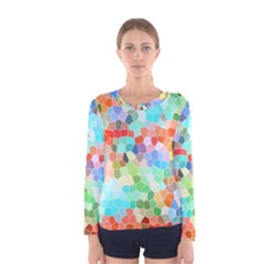 Colorful Mosaic  Women s Long Sleeve Tee by designworld65