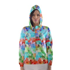 Colorful Mosaic  Hooded Wind Breaker (women)