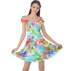 Colorful Mosaic  Cap Sleeve Dresses by designworld65