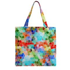 Colorful Mosaic  Zipper Grocery Tote Bag by designworld65