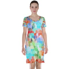 Colorful Mosaic  Short Sleeve Nightdress by designworld65