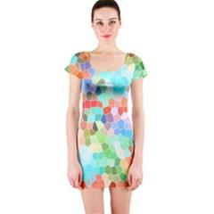 Colorful Mosaic  Short Sleeve Bodycon Dress by designworld65