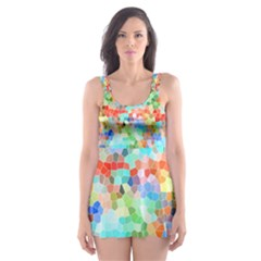 Colorful Mosaic  Skater Dress Swimsuit by designworld65